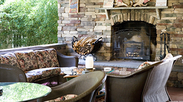 Photograph of Outdoor Fireplace and Patio